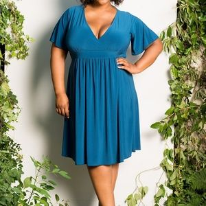 Dresses & Skirts - Plus Size Classic Blue V-Neck, knee-length dress